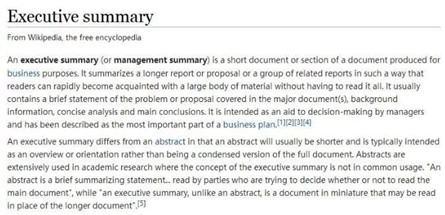 Executive Summary示意